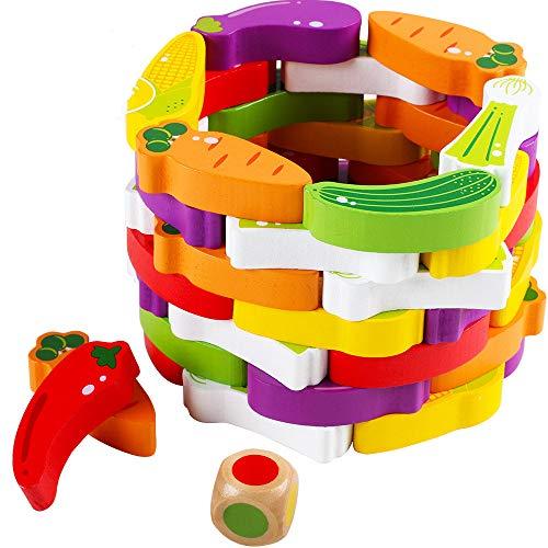YZH Gemüse Jenga Blöcke Spielzeug Obst Stapel Hoch Kinder Educational Push Tower Blocks Eltern-Kind Interaktive Desktop-Spielzeug Puzzle Entwicklung Gehirn