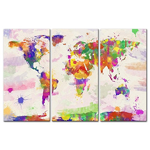 Old world maps on canvas amazon canvas print wall art paintings for home decor world color map in watercolour in hand painted style 3 pieces panel modern framed artwork pictures for living gumiabroncs Images