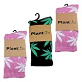 3x Plantlife Socken in universeller Größe // Blitzversand aus deutschem Lager // 2x pink/weiss 1x schwarz/grün