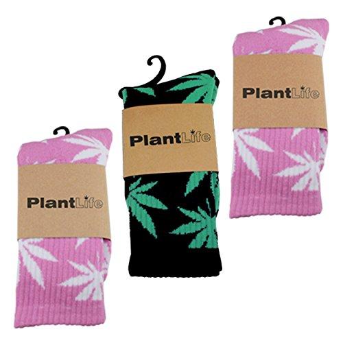 Weed-socken Für Männer (3x Plantlife Socken in universeller Größe // Blitzversand aus deutschem Lager // 2x pink/weiss 1x schwarz/grün)