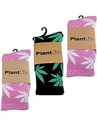 3x PlantLife Calcetines unisex - tamaño universal - 2x Pares de Calcetines en rosa/blanco y 1x Par en negro/verde