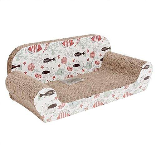 Nobleza cuccia tiragraffi in cartone a forma di divanetto con disegno pesci e erba gatta profumata