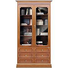 Mueble vitrina de salon, librería blanca con cajones