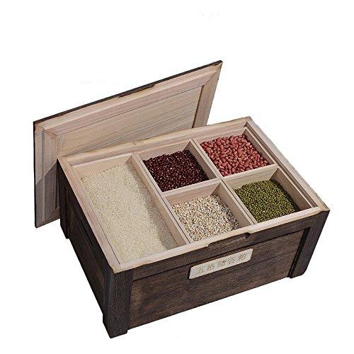 ASL Bois massif Cinq compartiments Boîte de rangement de céréales Boîte de rangement de riz Rade de riz Riz de riz, Cuisine Rangement de stockage Boîte à riz Cuisine Céréales Boîte Ménage À l'humidité Contrôle antiparasitaire Cylindre de riz Protection environnementale ( Couleur : #1 , taille : 41.5*26.5*19CM )