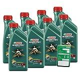 8x 1 L = 8 Liter Castrol Magnatec Diesel 5W-40 DPF Motor-Öl inkl. Ölwechsel-Anhänger
