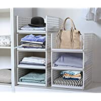 4 Pack Stackable Wardrobe Storage Organizer Plastic Detachable Shelves Drawers Baskets Divider Boxes for Clothes Dressers Wardrobe Bedroom