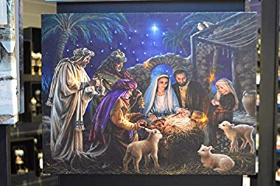 Nativity Scene Canvas with Light up LED bulbs - inexpensive UK light shop.