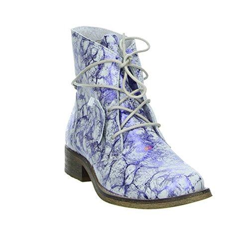 Online Shoes 1854-R Boots Leder Blau-Weiss in Marmorlook blau-weiss