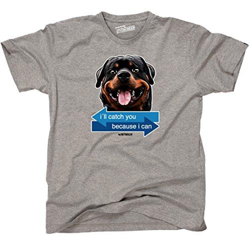 Siviwonder Unisex T-Shirt I´LL CATCH YOU - ROTTWEILER Hund Hunde fun WILSIGNS Sports Grey
