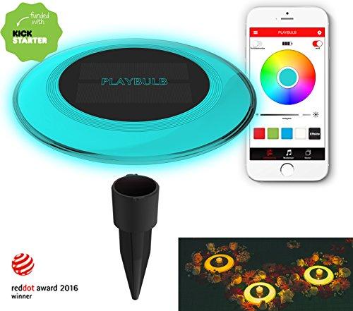 MiPow® Playbulb Solar - wasserdichte LED Solar-Leuchte für Garten, Teich und Pool mit Smart Home App-Steuerung (16 Mio. Farben, Effekte und Timer) (Einzeln)