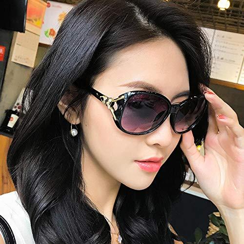 CYCY Sonnenbrille rundes Gesicht Damen Sonnenbrille weibliche Flut Sterne Modelle Brille großes Gesicht elegant d transparent lila Box Tuch, Black Box Tuch