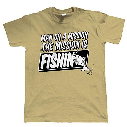 Vectorbomb, Man On A Mission, Funny Angeln T-Shirt (S bis 5X L) Braun - Hellbraun
