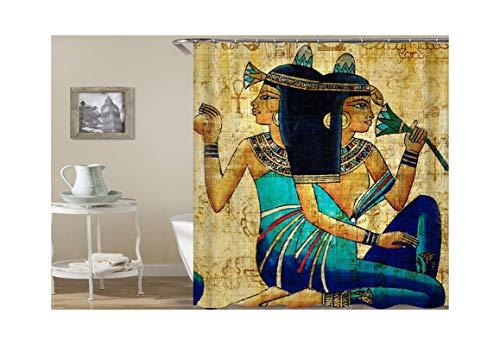 Bishilin Duschvorhang Wasserdichter Ägyptische Frauen Badvorhang Vintage Polyester-Stoff 180x180