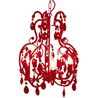 Näve Leuchten 826921 Klassik - Lámpara colgante (50 cm de altura, 42 cm de diámetro), color rojo