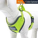 ThinkPet Atmungsaktives Hundegeschirr aus Weichem Air Mesh Gewebe, reflektierend, Mittelgroß, Neon-Gelb