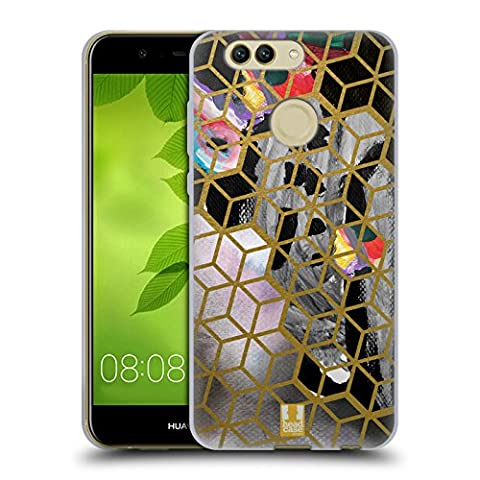 Head Case Designs Hexagon Abstrakte Impressionen Soft Gel Hülle für Huawei Nova 2 Plus