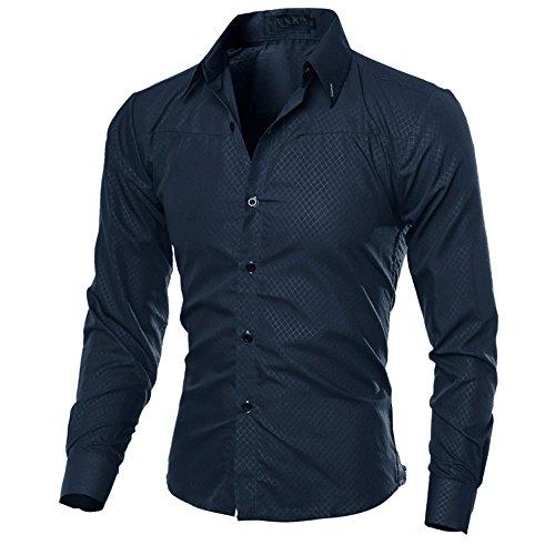 Zombie Rapper Kostüm - Xmiral Herren Hemden Tops Plaid Printed Bluse Lässige Langarm Slim Shirt Gentleman Arbeitskleidung(2XL,Marine Blau)