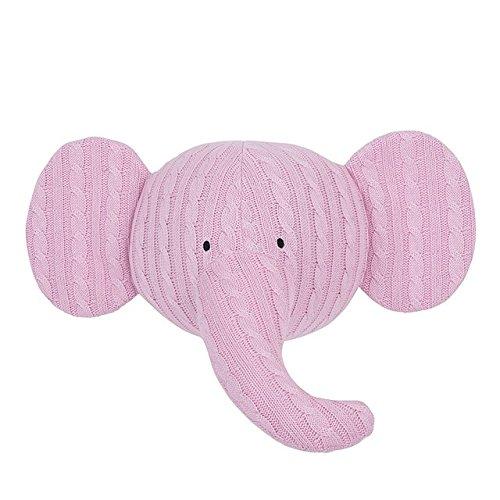Jollein 042-001-64896 Wanddekoration Tierkopf Elefant Strick rosa