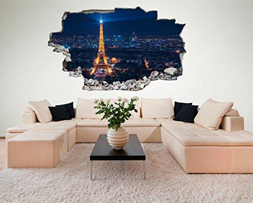 Frankreich Paris Eifelturm 3D Look Wandtattoo 70 x 115 cm Wanddurchbruch Wandbild Sticker Aufkleber DesFoli © - Paris-wand-aufkleber