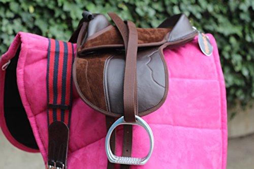 Cachorro de equipride sillín para Pony Shetland libre cincha y estribos, marrón