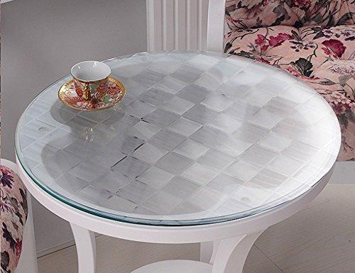 Nappe Ronde En Verre Souple PVC Transparent Nappe Imperméable À L'eau Table De Table Mat Table Nappe En Plastique (1.5mm) ( taille : Diameter 90 cm )