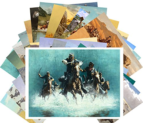 Postkarten 24pcs Western Cowboys Pioneers Indians Wild West Vintage Kunst by Frank McCarthy and Frederic Remington (Western-art-poster)