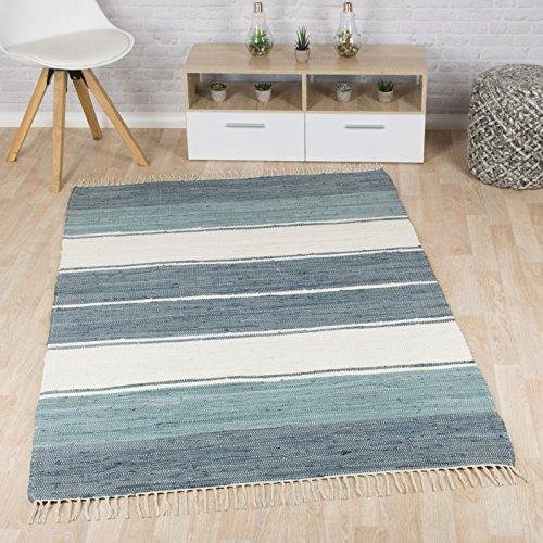 Taracarpet Flachweb-Baumwollteppich handgewebter handweb-Teppich Fleckerl Amrum aus 100% Baumwolle -auch bekannt als Dhurry oder Flickenteppich gestreift blau 090x160 cm