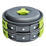 Campeggio pentole per 1–2persone Portable Campfire Cook kit 10pezzi Set di ciotole per utensili da cucina pan–leggero, compatto, per campeggio Backpacking Gear BBQ picnic all