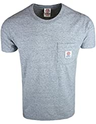 Franklin & Marshall Mens Sport Grey Runde Hals T-Shirt Patch Logo