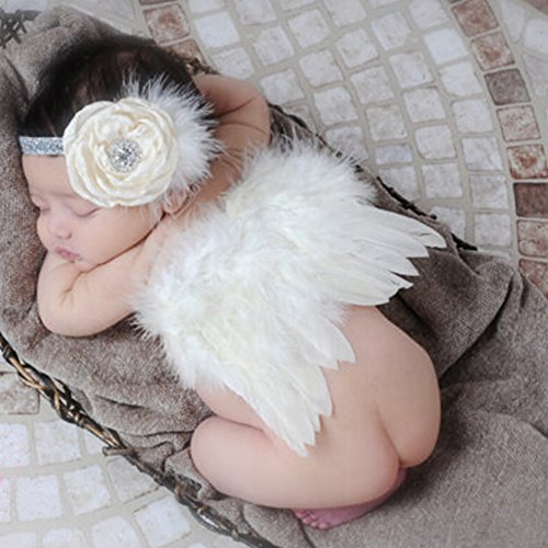 Baby Angel Feather Wings Photo Prop with Headband Costume Outfit/ Photoshoot Favor for Pictures & Keepsake by COUTUDI