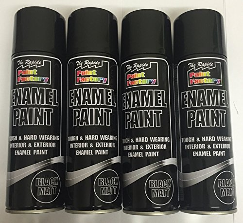 4-x-enamel-black-matt-paint-spray-aerosol-250ml-radiator-metal-wood-etc-tough