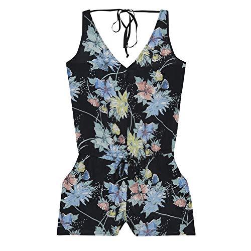 O'Neill Damen LW Beach Print Jumpsuit, Einteiler, Schwarz All Over Print mit Grün, M -