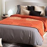 San Carlos Escamas - Funda nórdica, bajera ajustable y funda de almohada, fácil planchado, color naranja
