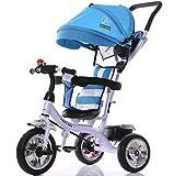 HJXJXJX Kinder Dreirad,Mehrfarben optional, mit Regenschirm, Baby Trolley