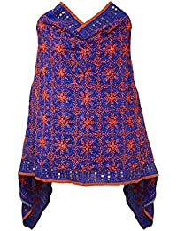 A Pure Blend Of Punjab Royal Blue Chanderi Phulkari Dupatta With Orange Embroidery By Fly Soul