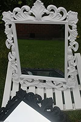 2 IN 1 VINTAGE ORNATE DRESSING TABLE MIRROR FRENCH WALL MIRROR MAKE UP MIRROR 39*50CM (white)
