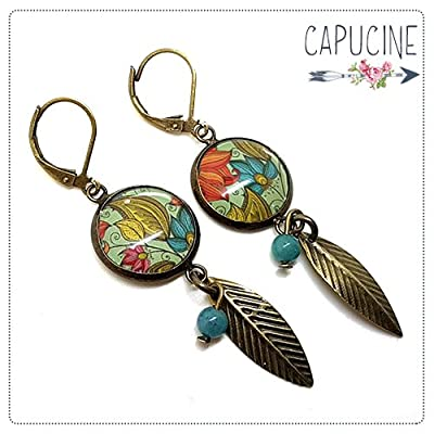 Boucles d'Oreilles Bronze Pendantes Feuilles avec Cabochon en Verre Fleurs Bleu Turquoise, Jaune et Rose