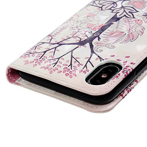 iPhone X Cover, Custodia Flip Pelle Premium PU Effetto 3D - MAXFE.CO Libro Leather e TPU Silicone Case Morbido Magnetico Flip di Supporto Protettiva Portafoglio, ID Slot per Scheda, Chiusura Magnetica Coniglio