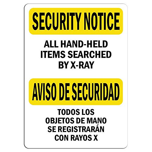 Toddrick Security Notice Hand-Held Items Searched by -Ray Warning Hazard Zinn schicke Zeichen Vintage-Stil Retro Küche Bar Pub Coffee Shop Dekor 8