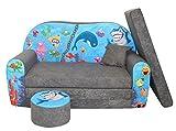FORTISLINE Kindersofa Kindercouch Aufklappen Bettfunktion + Hocker W319 Viele Muster (Ocean II)