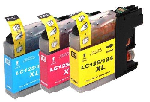 Preisvergleich Produktbild Premium 3er Pack Druckerpatronen für Brother LC127 , LC-127 LC 127 XL , DCP J4110 / MFC J4410 / MFC J4510 / MFC J4610DW / MFC J4710DW (C,Y,M)