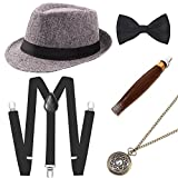 Coucoland 1920s Herren Accessoires Mafia Gatsby Kostüm Set inklusive Panama Gangster Hut Verstellbar Elastisch Hosenträger Herren Halsschleife Fliege Taschenuhr und Plastik Zigarre (Grau)