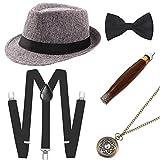 Coucoland 1920s Herren Accessoires Mafia Gatsby Kostüm Set inklusive Panama Gangster Hut Verstellbar Elastisch Hosenträger Herren Halsschleife Fliege Taschenuhr und Plastik Zigarre (Grau)