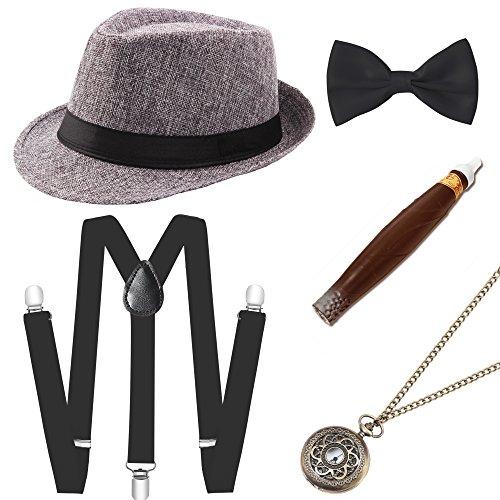 (Coucoland 1920s Herren Accessoires Mafia Gatsby Kostüm Set inklusive Panama Gangster Hut Verstellbar Elastisch Hosenträger Herren Halsschleife Fliege Taschenuhr und Plastik Zigarre (Grau))