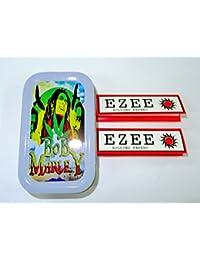 1oz Bob Marley (Color Gris), diseño Tabaco/Bolsillo/Stash lata + 2Ezee Rojo estándar folletos Combo se vende por Trendz
