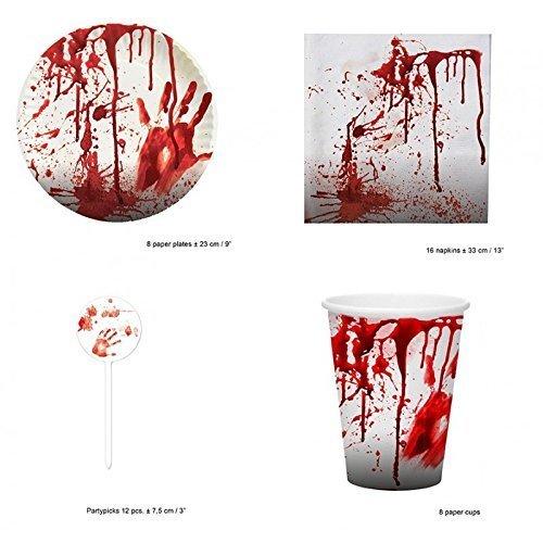 Halloween Partyset Spezial - Blutige Servietten, Pappteller, Pappbecher & Käsespieße / Partygeschirr / Halloweendekoration