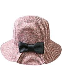 cuddty Bowknot Cap Panamá cubo sombrero verano sol visera gorro para mujer viaje playa senderismo Headwear, granate