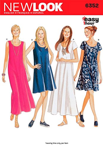New Look Sewing Pattern 6352: Misses Dresses, Size A, A (A (8-10-12-14-16-18)