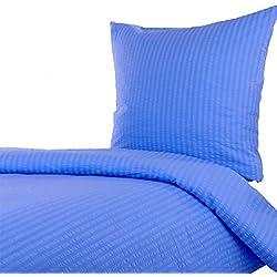 Hans-Textil-Shop Seersucker Hotelbettwäsche Uni, Baumwolle, Bügelfrei & Kochfest, Hotelverschluss, Für Unterkunft, Hotel, Hütte, Pension und Privat (Blau, 135x200 cm)