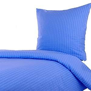 seersucker bettw sche 135x200 80x80 cm uni blau baumwolle rei verschluss b gelfrei. Black Bedroom Furniture Sets. Home Design Ideas